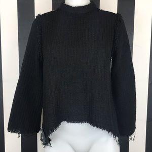 5 for $25 Zara Basic Black Tweed Studded Blouse